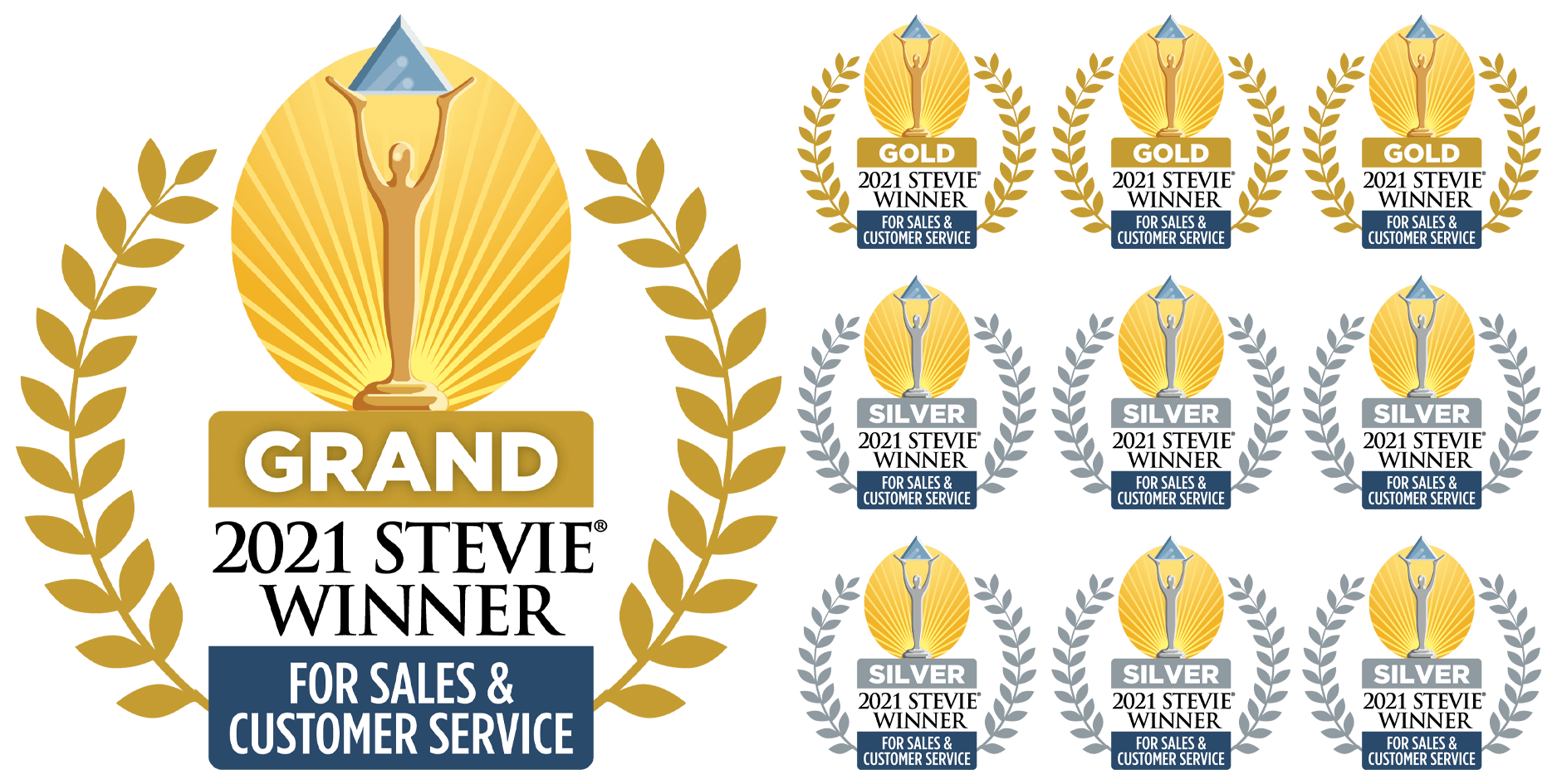Stevie Award Winner for Sales and Customer Service in 2021